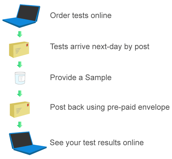 How it works - order a test, provide sample and get results online